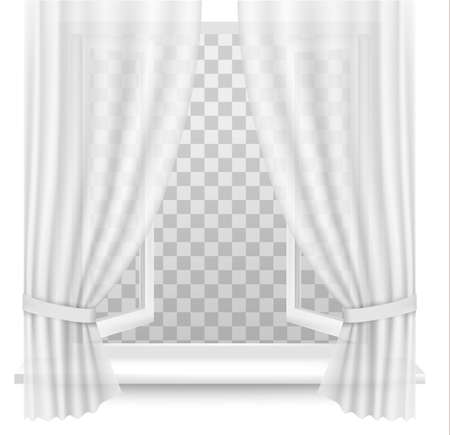 open window: Open window with curtains on a transparent background. Vector.