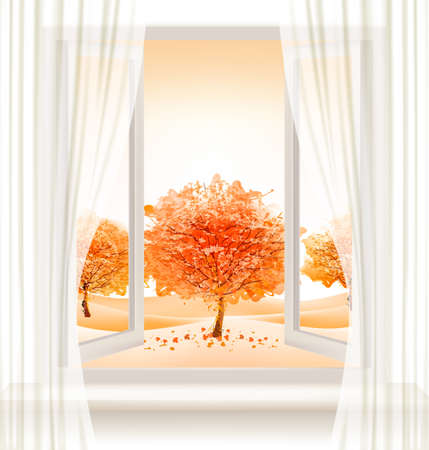 open window: Autumn background with an open window and colorful trees. Vector.