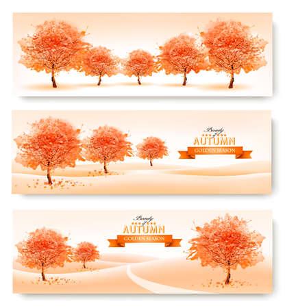 autumn scene: Three landscape autumn banners. Vector.