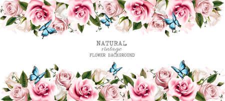 fiore: Naturale cartolina d'epoca con le rose. Vettore.