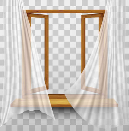wooden window: Wooden window frame with curtains on a transparent background. Vector Illustration