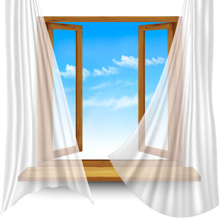 open window: Wooden window frame with curtains on a transparent background. Vector Illustration