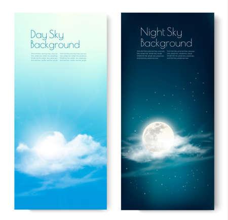 두 개의 대조 하늘 배너 - 낮과 밤. 벡터.