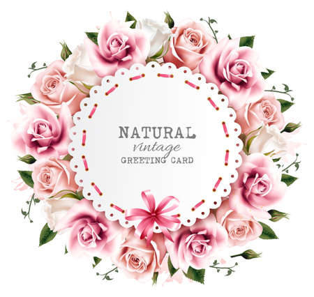 dozen: Flower background made out of pink and white flowers with a ribbon. Vector. Illustration