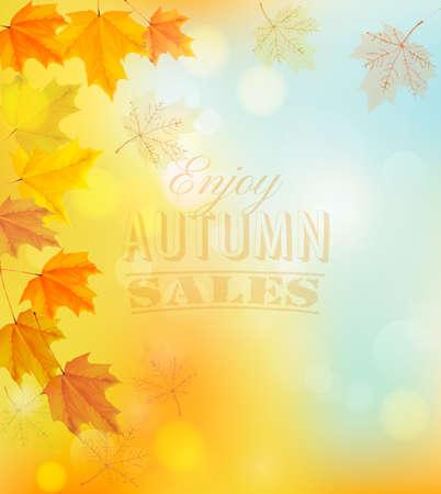 Profitez de l'automne ventes Bannière avec feuilles colorées. Vecteur.