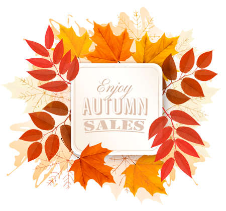 Autumn Sales Banner With Colorful Leaves. Vector. Vector Illustration