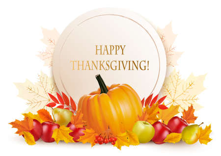 Happy Thanksgiving background with colorful autumn leaves and fruits. Vector. Illustration