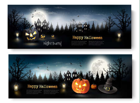 advertisements: Two Holiday Halloween Banners with Pumpkins and Moon. Vector