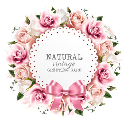 Flower background made out of pink and white flowers with a ribbon. Vector. Çizim