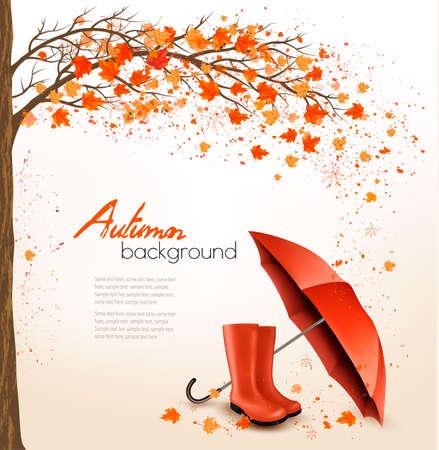 fond d'automne avec un parasol et des bottes de pluie. Vecteur.