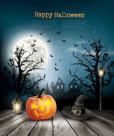 Scary Halloween background with a old paper. Vector. Illustration