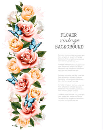 dozen: Holiday background with beautiful flowers and butterflies. Vector.