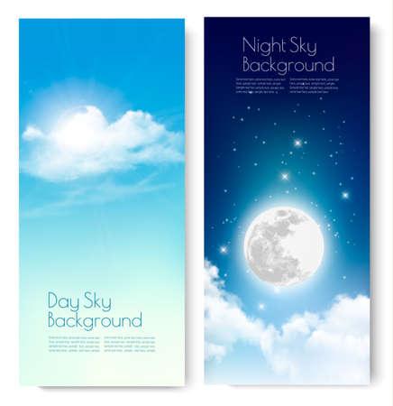 Due contrastanti cielo striscioni - giorno e notte. Vettore.