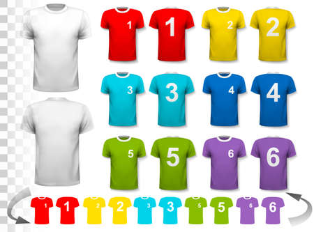 football jersey: Collection of various soccer jerseys with numbers. The T-shirt is transparent and can be used as a template with your own design. Vector. Illustration