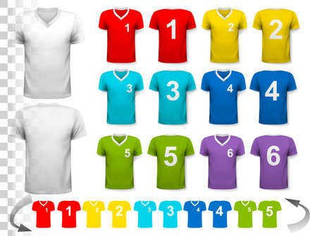 Collection of various colorful soccer jerseys with numbers. The T-shirt is transparent and can be used as a template with your own design. Vector.