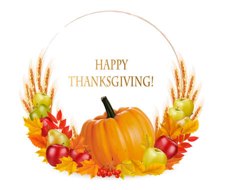 Happy Thanksgiving background with colorful autumn leaves and fruits. Vector.  イラスト・ベクター素材