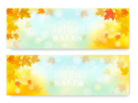Enjoy Autumn Sales Banners with Colorful Leaves. Vector.