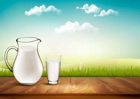 cruet: Vector Design Background With Milk In Jug And Glass.