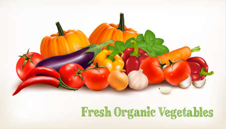 Background With Organic Fresh Vegetables. Healthy Food. Vector illustration