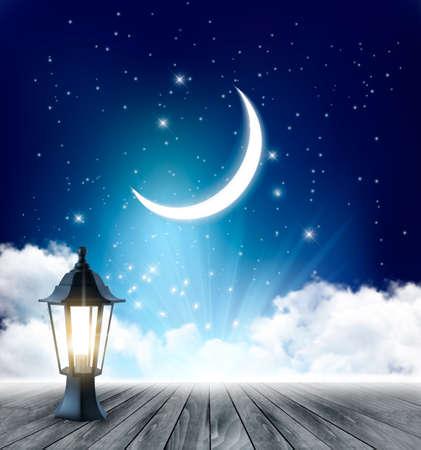 lampada: Sfondo del cielo notturno con luna crescente E Ramadan lampada. Vettore. Vettoriali