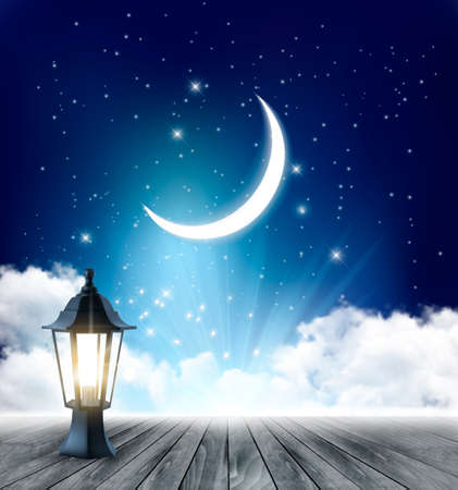 Night Sky Background With Crescent Moon And Ramadan Lamp. Vector.