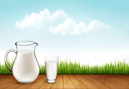 cruet: Natural Whole Milk In Jug And Glass isolated On Nature Background. Vector