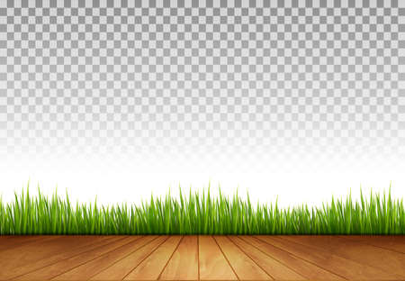 fields  grass: Background with Wooden Floor and Green Grass A transparent Back Wall. Vector.