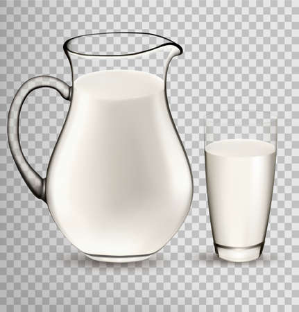 cruet: Natural Whole Milk In Jug And Glass isolated On Transparent Background. Vector Illustration