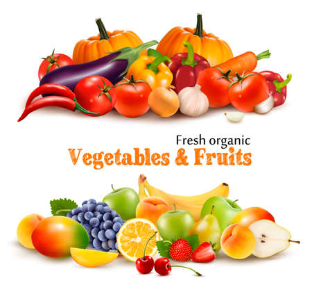 Background With Organic Fresh Vegetables. and Fruits Healthy Food. Vector illustration Vectores