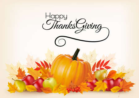 Thanksgiving background with autumn fruit and leaves. Vector. Illustration
