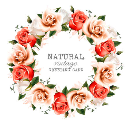 red rose: Natural vintage background with a wreath of roses. Vector.
