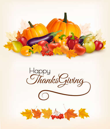 basket: Happy Thanksgiving background with colorful autumn leaves and fruit. Vector