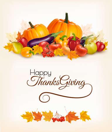 corbeille de fruits: Joyeux Thanksgiving fond avec des feuilles d'automne et de fruits colorés. Vecteur