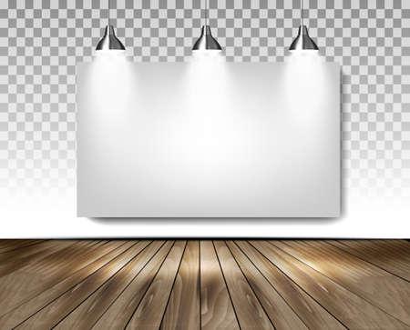 showroom: Grey room with three lights and wooden floor. Showroom concept. Vector.