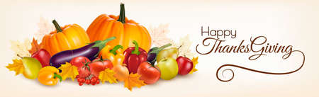 Happy Thanksgiving banner with autumn vegetables. Vector.