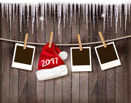icicled: Christmas background with photos and a santa hat with 2017. Vector.