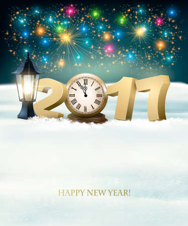 new year eve: Happy New Year 2017 background with fireworks. Vector. Illustration