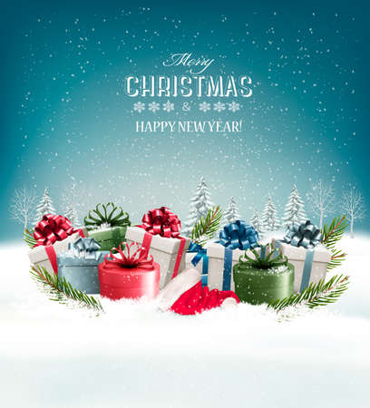 Holiday Christmas background with a gift boxes. Vector. Ilustração