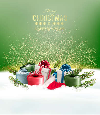 Holiday Christmas background with a gift boxes. Vector.  イラスト・ベクター素材