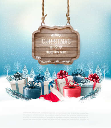 snowscape: Christmas winter background with presents and wooden board. Vector.