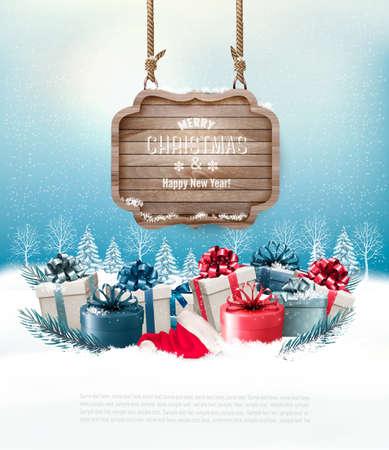 Weihnachten Winter Hintergrund mit Geschenken und Holzbrett. Vektor. Vektorgrafik