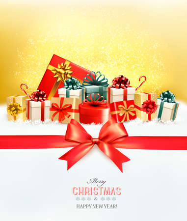 Holiday Christmas background with a gift boxes.and red bow Vector
