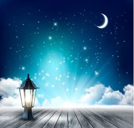 lampada: Bellissimo sfondo notte magica con la luna e lanterna. Vettore.