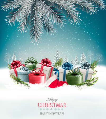 Holiday Christmas card with a gift boxes Vector.