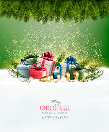Holiday Christmas background with a gift boxes Vector Illustration