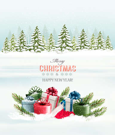 Winter background with christmas gift boxes. Vector.