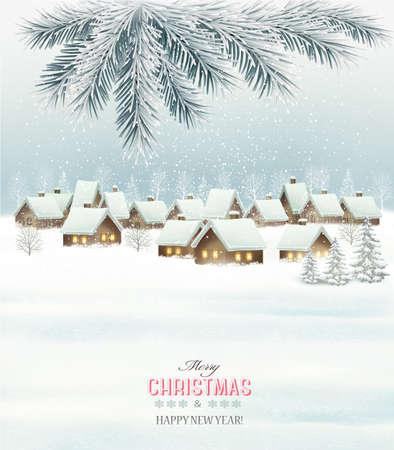 Navidad de fondo de invierno con un paisaje pueblo nevado. Vector.