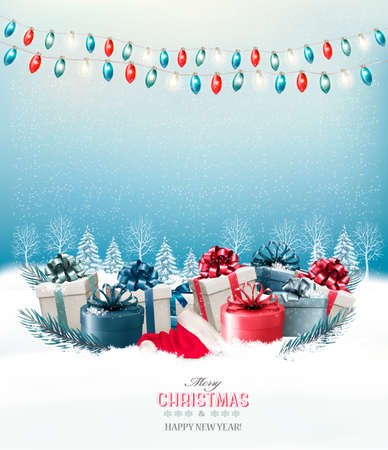 Holiday Christmas background with a gift boxes and a garland. Vector.