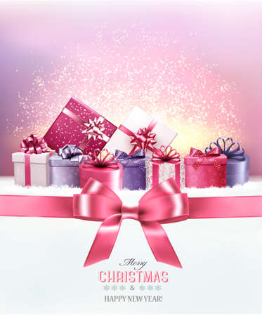 pink bow: Holiday Christmas background with a gift boxes.and pink bow Vector