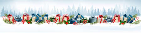 holiday background: Holiday Christmas background with colorful gift boxes. Vector.